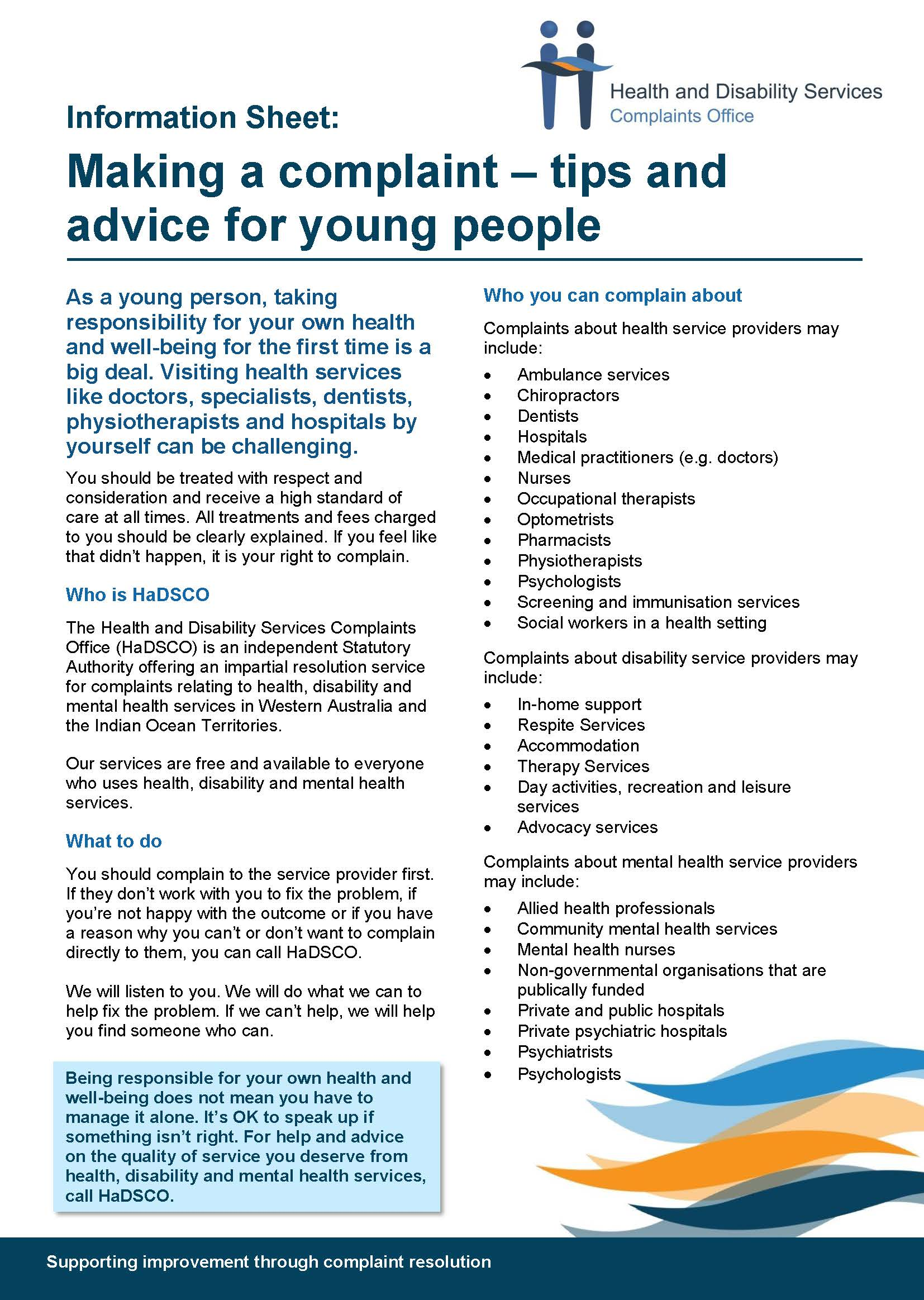 Image of Information Sheet - young people